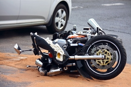 a crashed motorcycle