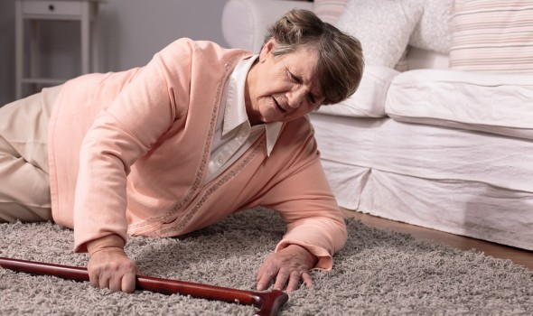 senior woman slip and fall accident