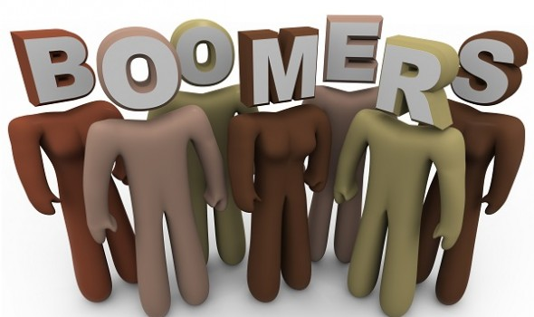 Several people of different colors with letters for heads spelling the word Boomers