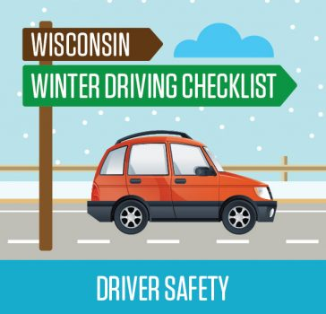 Wisconsin winter driving checklist art of car in snowy conditions