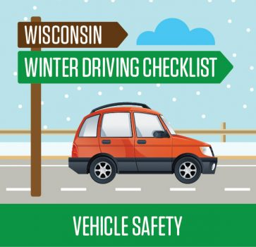 wisconsin winter vehicle safety checklist art of car in snowy conditions